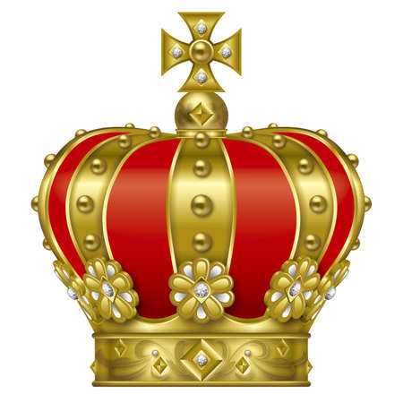clippings: Illustration of the crown. Gold. Stock Photo