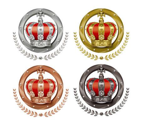 Ilustracja korony. Cztery ikony. Złote, srebrne i brązowe plakietki.