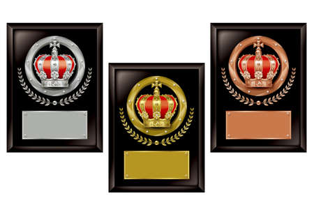 king crown laurel icon round: Illustration of 3 commemoration shields. Gold, silver and bronze plates are text space.