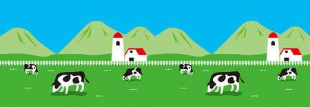 Illustratie van boerderij, met koeien, boerenerf, bergzicht en grasveld.