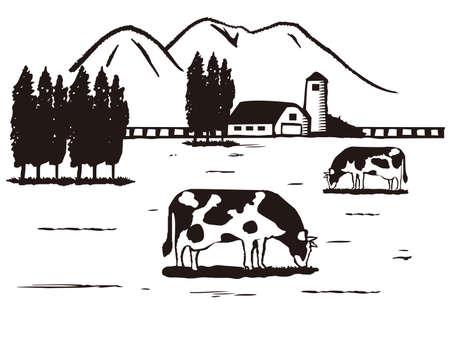 Illustratie van boerderij, schetsstijl.