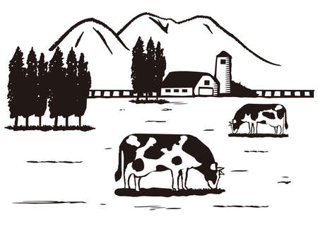 Illustration of Farm, Sketch style.
