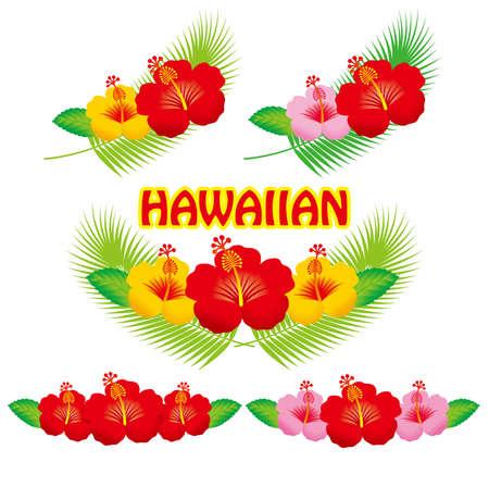 Hibiscus illustratie collectie. Stock Illustratie
