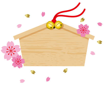 EMA illustration. Votive picture, a Write wish and to dedicate the at the shrine. Illustration