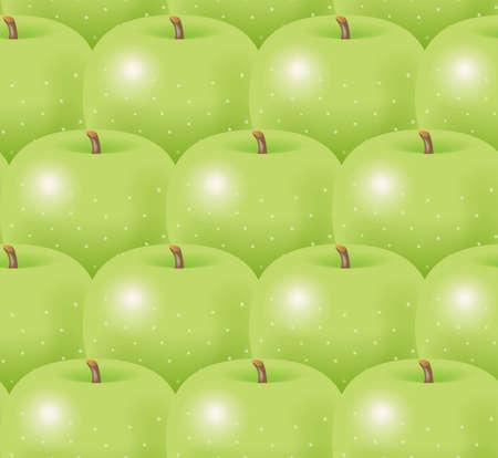 Illustratie van groene appels. Naadloze patroon