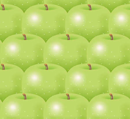 Illustration of green apples. Seamless pattern. Banco de Imagens