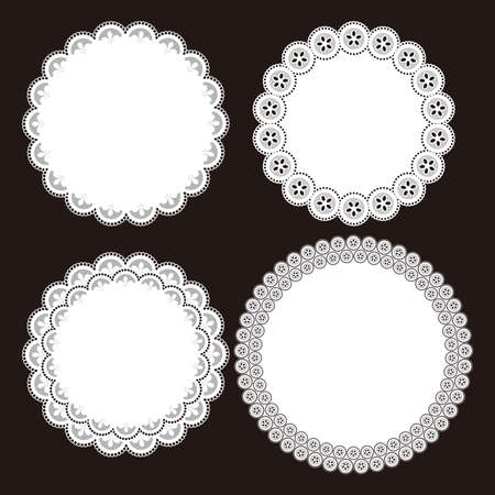 Illustration of lace round patterns. Paper coaster.