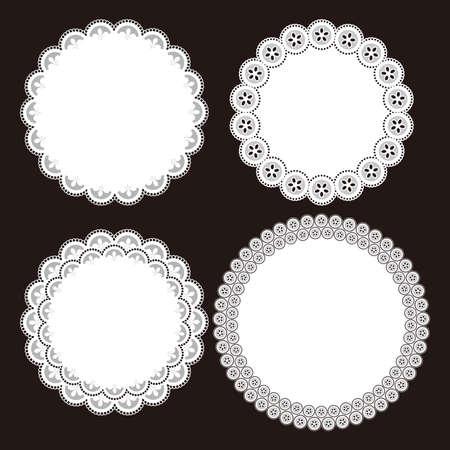 Illustration of lace round patterns. Paper coaster. Banco de Imagens - 95542755