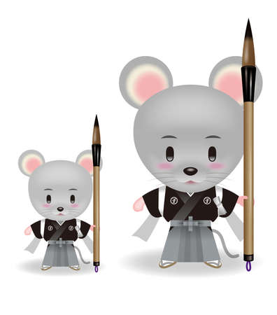 Illustration of Rat. Twelve signs of the Chinese and Japanese Zodiac.
