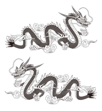 Illustration of a dragon. Vector. 向量圖像