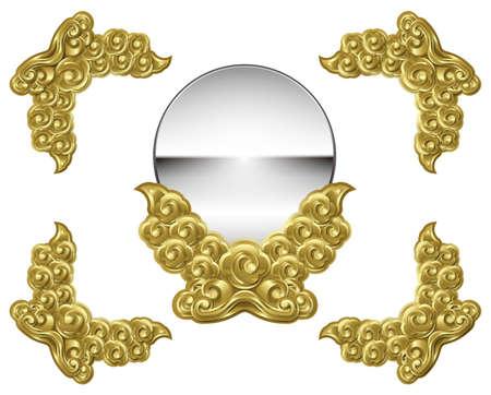Illustration of sacred mirror. Asian mythology.