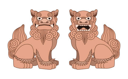 Illustration of Shisa. Shisas are Okinawan guardian lions.