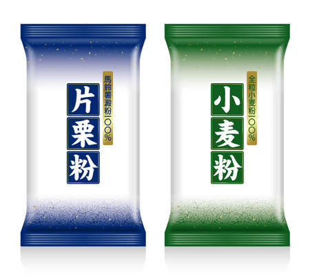 Illustration of a bag of potato starch and a bag of flour. Japan measing. Green bag