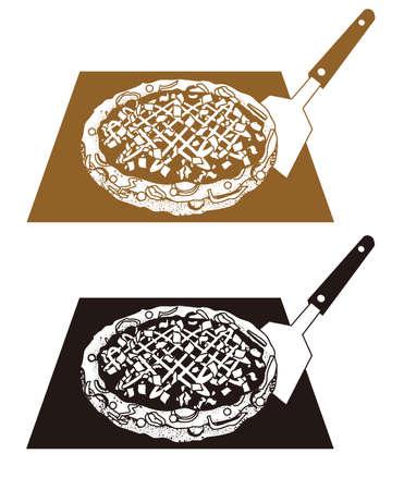 An illustration of the Okonomiyaki ( Japanese savory pancake). 矢量图像