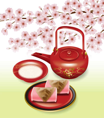 Illustration of Japanese tea set and cherry blossoms.