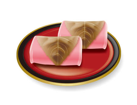 Illustration of Sakuramochi. Japanese sweets. Sweet rice cake with red bean paste.