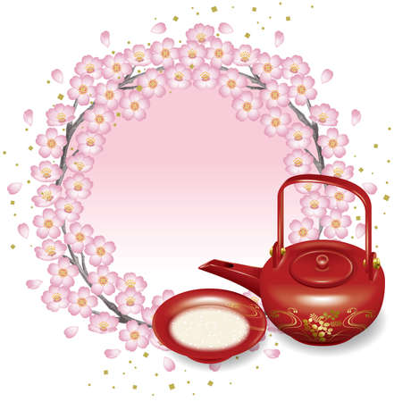Illustration of Japanese tea set and cherry blossoms. Flame.