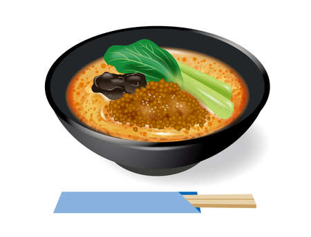 Illustration of the Tantan noodle. Tantanmen is a noodle dish with a sauce made from sesame paste and chili oil.