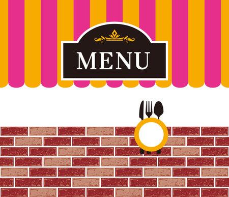 Menu card illustration. The letters
