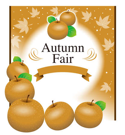 Illustration of a poster of Japanese pear.  Template. You can change the text and use it. 免版税图像