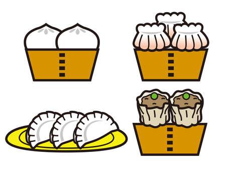 Chinese food icon set. Illustration of meat bun, shrimp dumplings, dumplings, Shumai (Chinese dumpling). 矢量图像