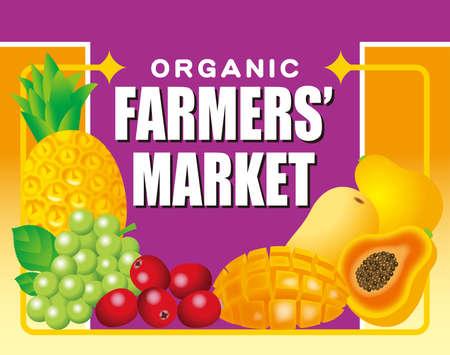 Illustration of a farmer's market sign. Flea market, farmer direct sales, supermarket advertisement, etc. 免版税图像