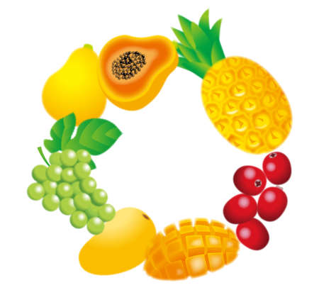 Illustration of a fruit frame. Tropical fruits. 免版税图像
