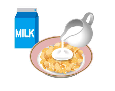 Illustration of corn flakes. How to eat corn flakes.