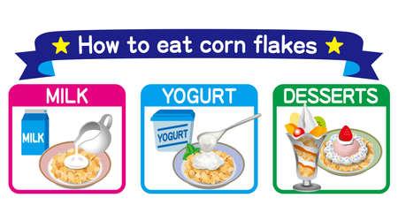 Illustration of corn flakes. How to eat corn flakes. Icon set. 免版税图像