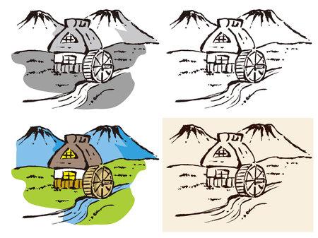 Illustration of old Asian landscape. 矢量图像