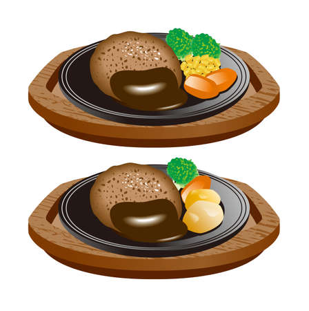 Illustration of Hamburg Steak. Icon set.