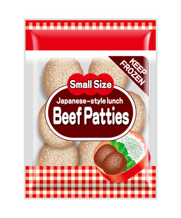 Illustration of beef patties bag. Japanese foodstuff. It is a side dish for Japanese Bento(lunch).