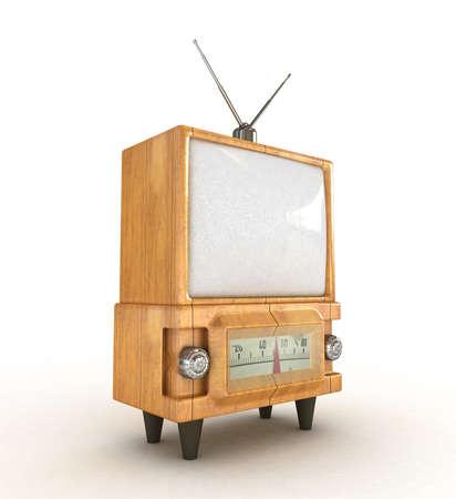 3d Stylish wooden retro tv  photo