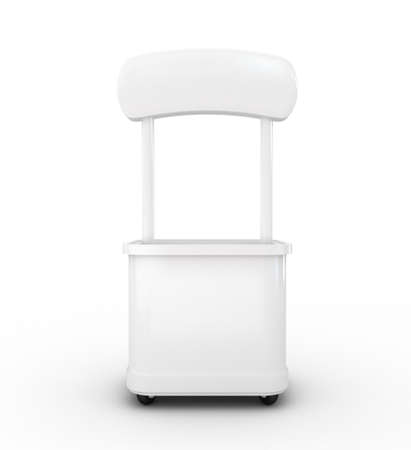 kiosk: High res.3d white promotion counter isolated