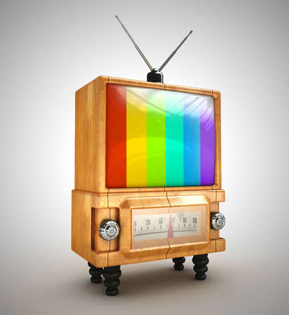 no signal 3d Stylish wooden retro tv  photo