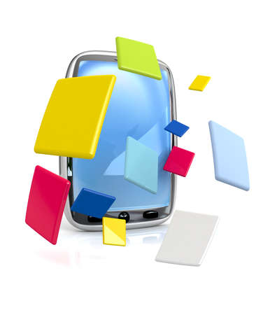 comunicarse: Las aplicaciones est�n volando de 3D prestados por tel�fono  Foto de archivo
