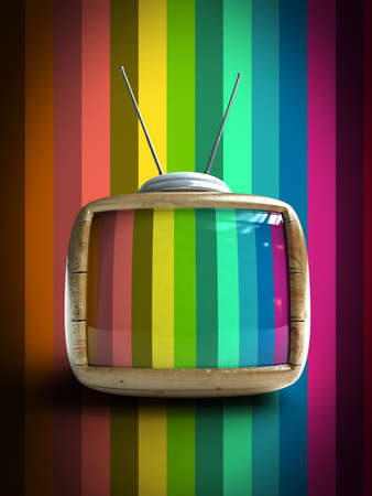3d Stylish wooden classic tv -colorful no signal background  Stock Photo - 9306434