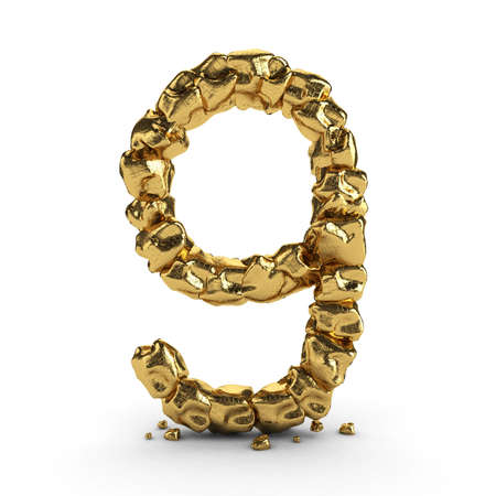 bevel: golden number 3d rendered isolated Stock Photo