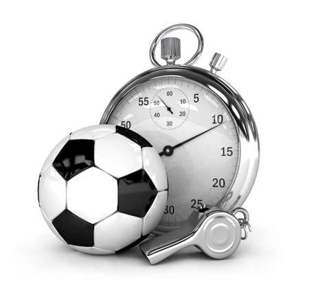 instrument of time: Soccer concept Chronometer isolated 3d rendered