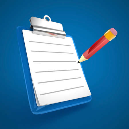 3D blue clipboard isolated Stock Photo
