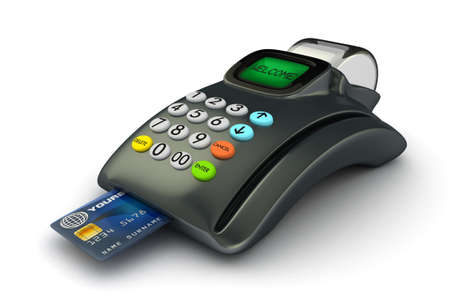 shopkeeper: 3D POS-terminal with credit card isolated  Stock Photo
