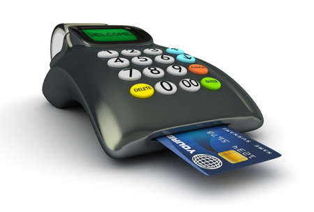 readers: 3D POS-terminal with credit card isolated  Stock Photo