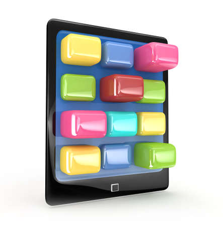 Touch pad tablet with applications 3d rendered isolated photo