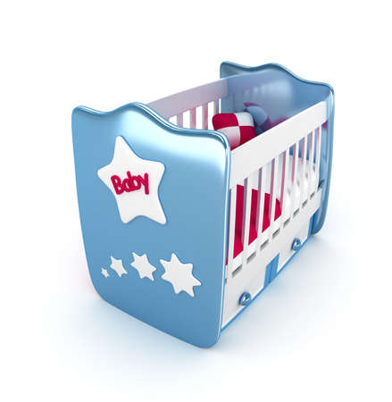 cradle: High res. Blue crib isolated 3D Rendered