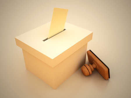 electioneering: lot and stamp with envelope 3D RENDERED