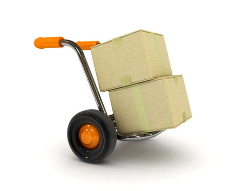 handcart: 3d barrow truck and carton box