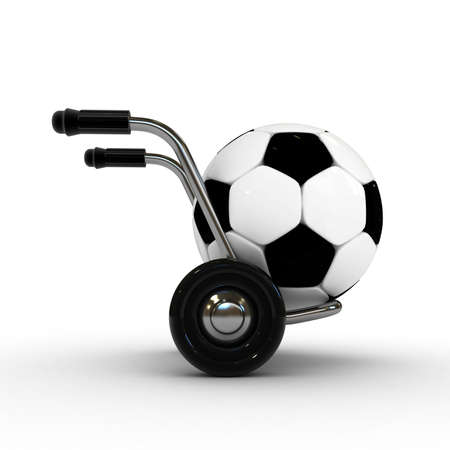 handcart: 3d barrow truck and soccer ball