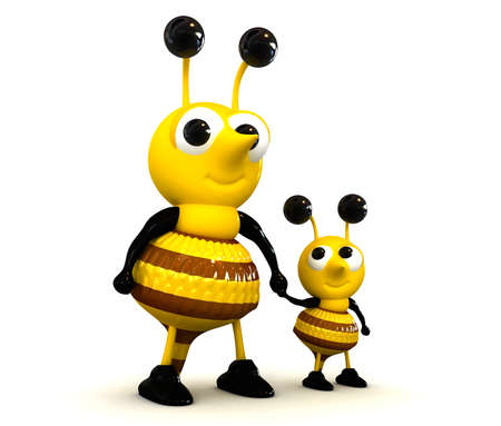 baby bee and mother 3d render isolated Stock Photo
