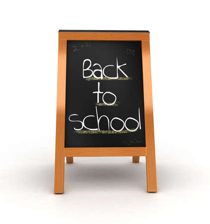 promo: 3D wooden board with back to school isolated  Stock Photo