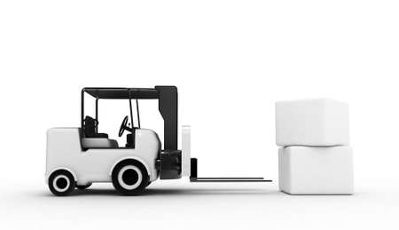 3D Rendered white forklift with boxes  photo